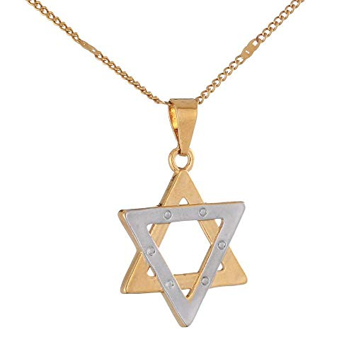 Moda judía Magen estrella de David colgante collar mujeres cadena joyería-Two_Tone