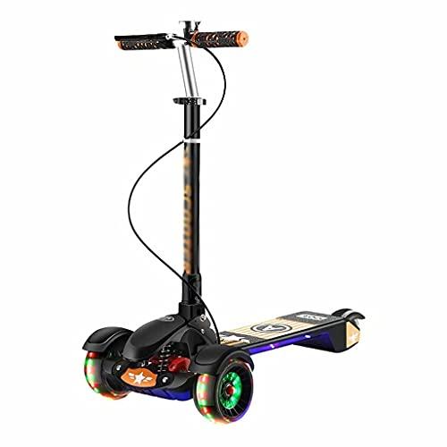 WZWHJ wunderschönen Kinderroller eignet Sich für 5-18 Jahre alt, 5 einstellbare Griffe, vorderer und hinterer Bremspedal-Roller, PU-Flash-Rad, Jungen und Mädchen-Kinderwagen (schwarz) (Color : Black)