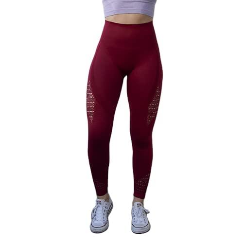 QTJY Pantalones de Yoga de Abdomen sin Costuras para Mujer Energy Super Stretch Fitness Jogging Medias de Cintura Alta Caderas Pantalones Deportivos para Correr E XL