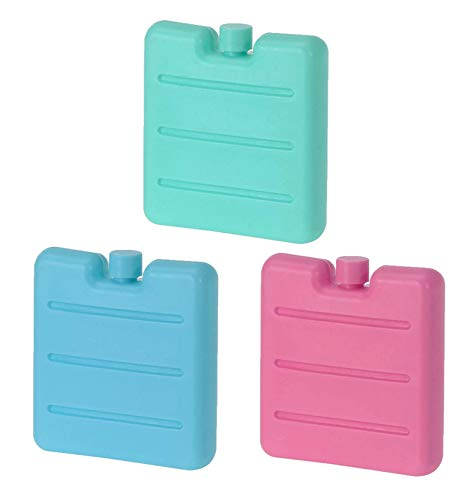 MIK Funshopping Set Mini-Kühlakkus, Kühl-Elemente für die Kühltasche, Kühl-Akku für die Brotdose in 3 Farben (3, Mehrfarbig)