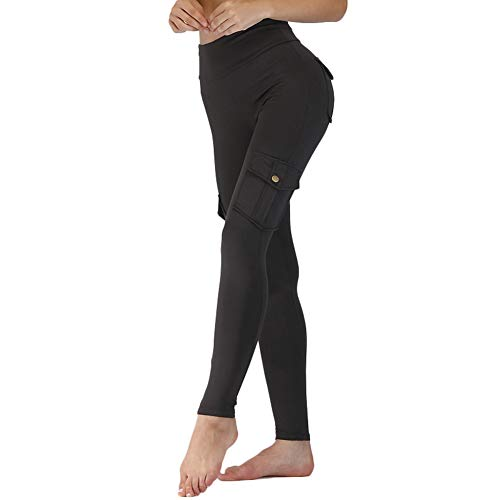 Flykee Women Elastic Yoga Leggings Bamboo Fiber Sports Hips Up Long Pants with Pockets...