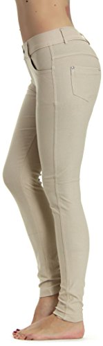 Prolific Health Women's Jean Look Jeggings Tights Slimming Many Colors Spandex Leggings Pants S-XXXL (Large (US Size 10-12), Beige)