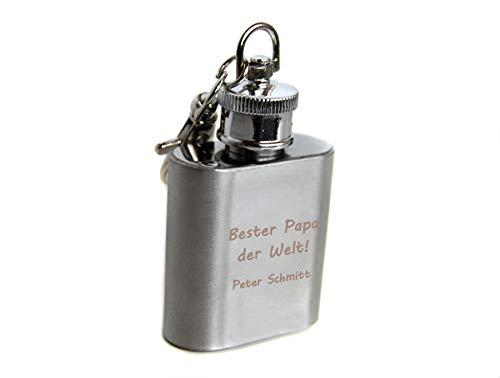 Schlüsselanhänger Flachmann mit Gravur aus Metall mit Karabiner, Glücksbringer personalisiert mit Name oder Wunschtext