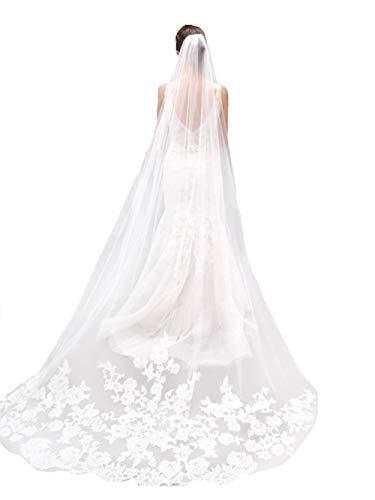 Yean Voile de cheveux romantique avec dentelle, longueur du sol, accessoires de cathédrale de mariage avec peigne pour femme