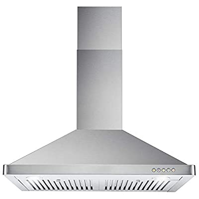 Cosmo 63175 30 in. Wall Mount Range Hood with High CFM, Ducted, 3-Speed Fan, Permanent Filters, LED Lights, Chimney Style Over Stove Vent in Stainless Steel, Exhaust