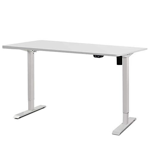 Artiss Roskos I Electric Motorised Height Adjustable Standing Desk Laptop All White 140cm Computer Table