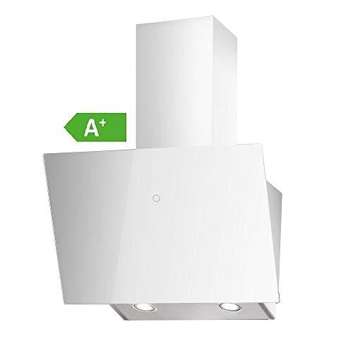 VLANO MELIA Plus EEK A+ Kopf-freie Dunstabzugshaube Glas Design/Touch Control/ECO LED/Extra leiser Brushless Motor/Abluft/Umluft (Melia Plus 60 cm, weiß)