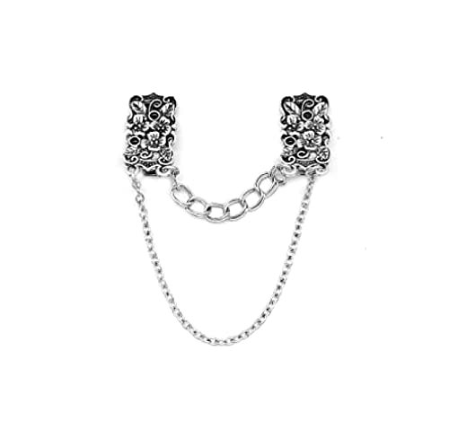 MENGHUA Flor Tallado Antiguo Broche de Plata Retro Camisa de Hombre y Mujer Cuello Clip Bufanda Botón Collar Cadena