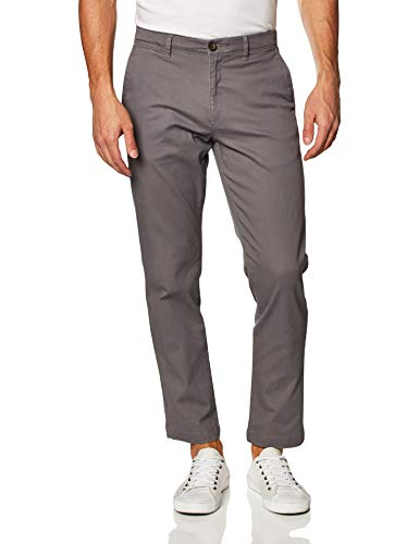 Amazon Essentials Men's Relaxed-Fit Casual Stretch Khaki, Dark Grey, 42W x 29L
