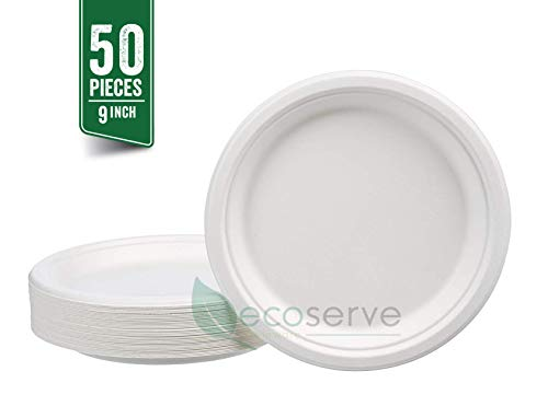 50 x BIO Disposable Plates from sugar cane kompostierbar 22,4 cm Diameter Round