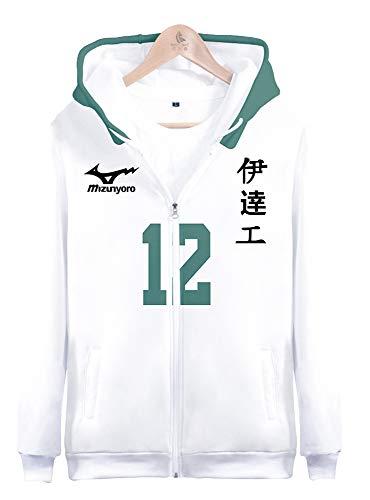 Sudadera con capucha con impresin 3D diseo de anime y fecha tecnolgica para el colegio Datekougyou de secundaria Yutaka Obara NO.12 disfraz de cosplay para adultos verde/blanco XL(pecho 116cm)
