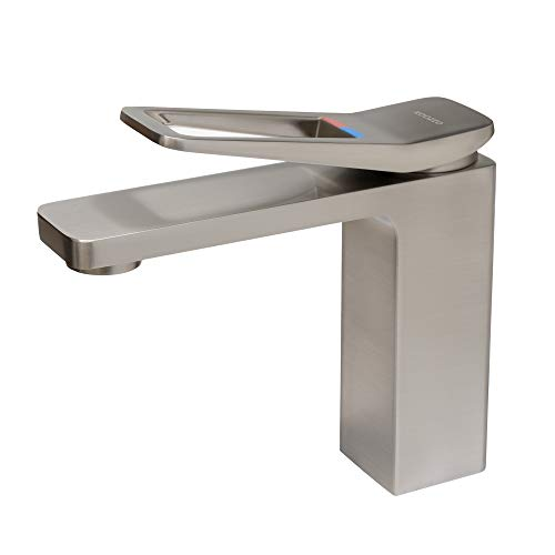 Koozzo Douro Brushed Nickel Bathroom Sink Faucet Single Handle - Brass Material Faucet 1-Hole Easy Installation Pop-up Drain Assembly Included