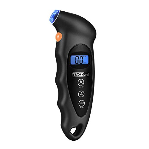 TACKLIFE TG-01 Classic Tire Pressure Gauge(2-Pack) 100 PSI 4 Settings with Backlight LCD Display and Non-Slip Grip Digital Tire Gauge for Cars and Motorcycles