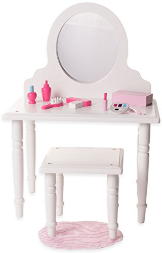 Playtime by Eimmie Furniture Set - Vanity and Stool Set with Makeup Accessories - Vanity Set for 18 Inch Dolls