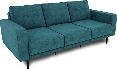 KAUTSCH Mette Dreisitzer Sofa für Wohnzimmer zerlegbar - Couch 3-sitzer - Polstersofa - B 220 cm - ohne Longchair, Petrol - mit Metallfüße