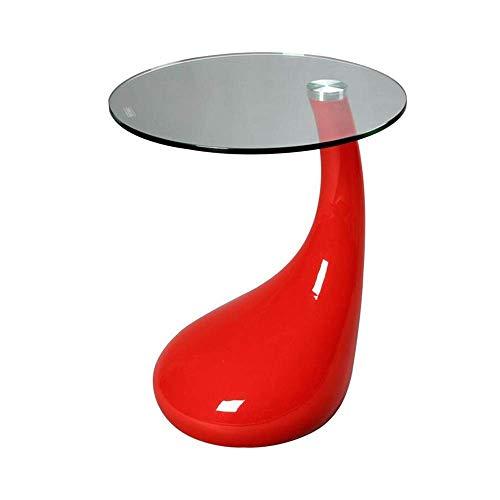 Dagelijkse uitrusting Rode Tear Drop-bijzettafel met rond glazen blad Kleine regendruppel-salontafel Modern design Telefoon Korte tafel 2 kleuren BT-rood 17,71 & keer; 19,68 inch