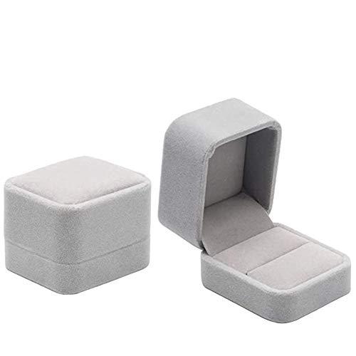 REYOK 2 Pack Conjunto Joyero - Joyeros - Terciopelo Caja de la joyería Caja de Regalo Set, Caja de Anillo de Terciopelo Compromiso/Proponer/Anillo de joyería de Boda Estuche de Regalo