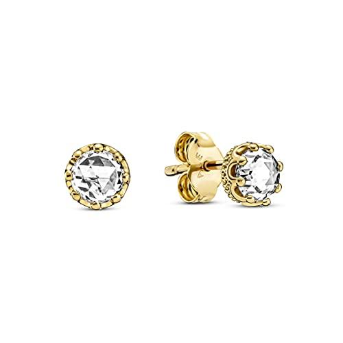 Pandora Pendientes de corona de aleación chapada en oro de 14 quilates con circonitas de Pandora Moments Collection, 268311C01