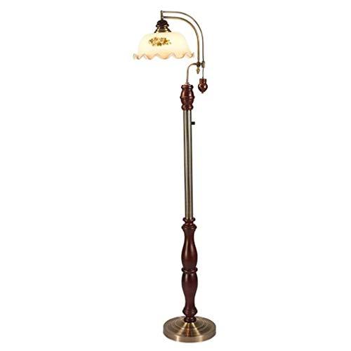 Aocean Lámpara de pie Europea Woodcraft, lámpara de pie Ajustable Regulable de 3 Colores con Pantalla de Vidrio de jardín Pintada a Mano para Sala de Estar
