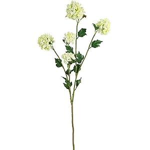 "Silk Flower Arrangements 1 Premium Silk Flower Snowball Spray 38"" with 5 Lifelike Artificial Blooms and Foliage Cream / Green Color Wedding, Party,Home Decor Viburnum"