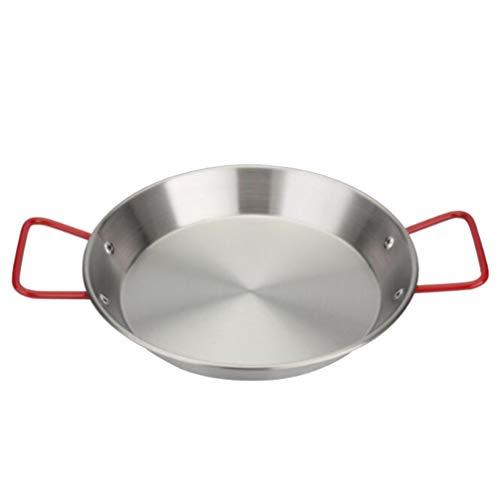Hemoton Paella-Pfanne aus Edelstahl Antihaft-Brathähnchen-Nudelpfanne Paella-Pfannen-Küchenzubehör in Restaurantqualität (28 cm)