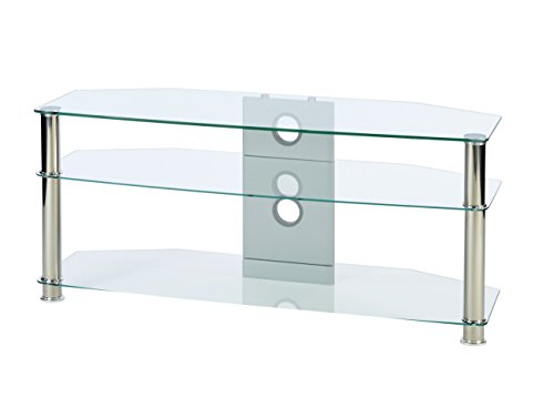 MMT Clear Glass TV Stand 1150mm wide for Up To 55 inch LCD LED 3D Plasma screens with chrome silver legs