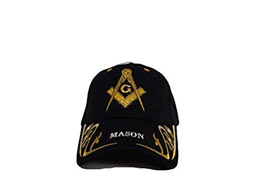 Black and Gold Mason Masonic Freemason Feather Eggs Style Cap 3D Embroidered Hat