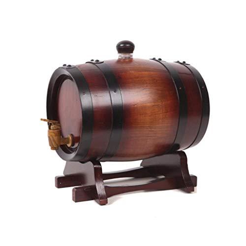 HWhome 0.75L/1.5L/3L/5L Barril De Whisky con Soporte De Barril De Vino For Almacenar Vino Cerveza Whisky,Dispensador De Vino Barril Madera Traje,Revestimiento De Acero Inoxi(Size:1.5L,Color:marrón)