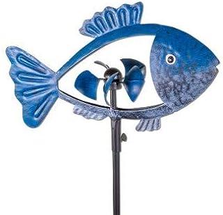 IMC Networks CIM Molinillo de Viento metálico -esculturas de Viento- Pez Azul Oscuro - Altura Total con Pica: 140 cm - Longitud del pez de 30 cm x diámetro del carillón 10 cm, Impermeable