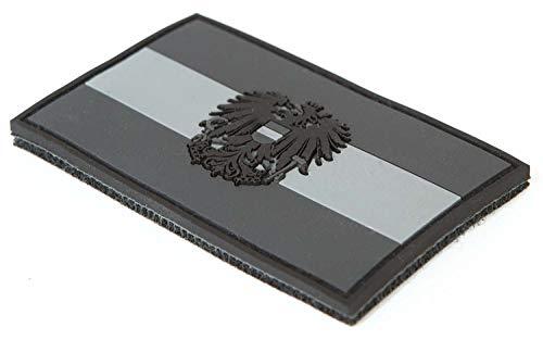 STEINADLER Klettflagge Österreich PVC  Klettflächen Patch als Emblem für Armee, Uniform und Jacke   Flagge mit Österreich-Wappen (schwarz-grau)