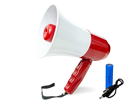 Rechargeable Megaphone Speaker,Portable Bullhorn with Lithium Battery, Recording 240s,Siren,USB Player,Volume Control(RED)