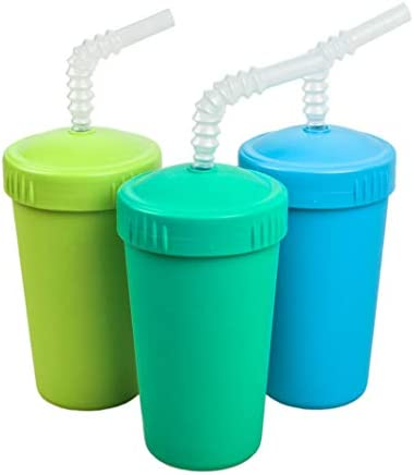 RE PLAY Made in USA 3pk 10 oz Straw Cups with Reversible Straw BPA Free Eco Friendly Recycled product image