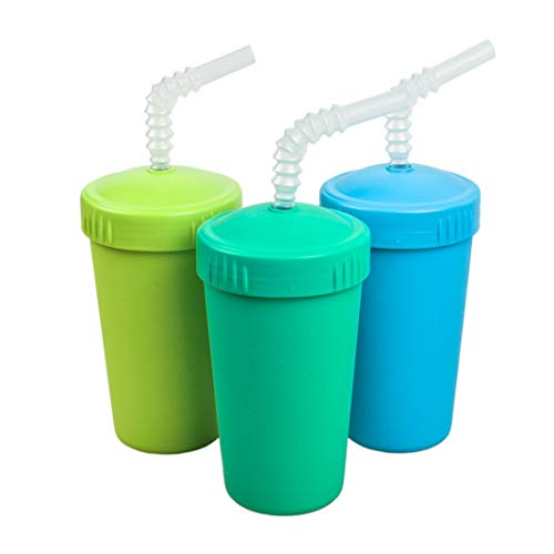 Re-Play Made in USA 3pk Straw Cups with Bendable Straw in Sky Blue, Lime Green and Aqua   Made from Eco Friendly Heavyweight Recycled Milk Jugs - Virtually Indestructible (Under The Sea)
