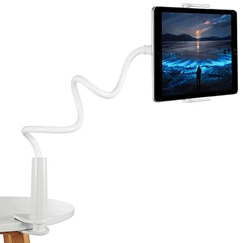 Czemo Soporte Tablet, Soporte Móvil Multiángulo Flexible con Cuello de Cisne Brazo, Compatible para iPad Serie iPhone Huawei Samsung Kindle Fire y Más Equipo de 4-11 Pulgadas (Blanco)