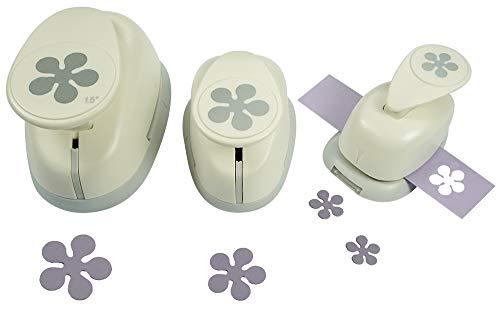 Motivstanzer Set A68203 Blume, 3 STK, Kunststoff, weiß, 1,6cm, 2,54cm, 1x 3,81cm