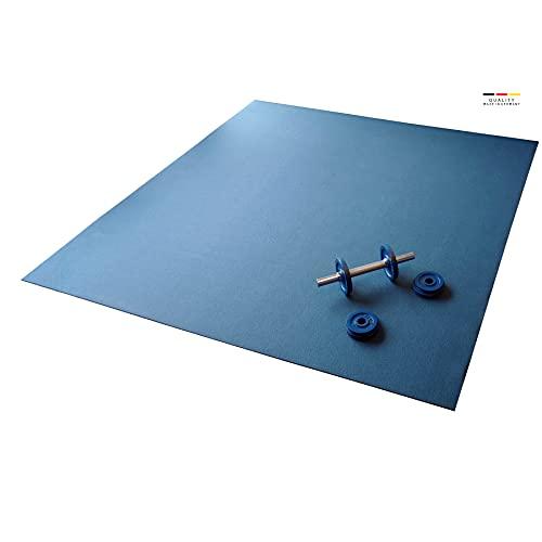 Q324 Active die extra große Fitnessmatte - 180x140cm rutschfeste und robuste Trainingsmatte - Yogamatte - Sportmatte -Gymnastikmatte - Öko-Tex Zertifiziert - Blau