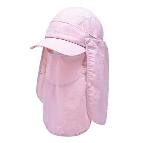 Lazzon Sonnenhut Herren Sommerhut mit UV Schutz Abnehmbarer Maske und Nackenschutz Unisex Outdoor Hiking Strand Fischerhut für Kopfumfang 54-60cm (Pink)