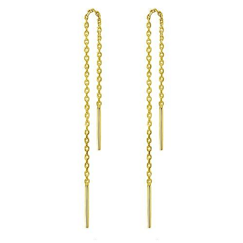925 Sterling Stäbchen Durchzieher Ohrringe Lange Quaste Einfädler Ohrringe für Frauen Mädchen,Gold