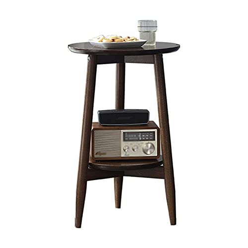 Mesa auxiliar de almacenamiento doble, soporte de esquina redonda, mesa de centro de estilo japonés, mesa auxiliar de salón de flores, mesa de madera alta (tamaño: 50 cm, color: marrón)