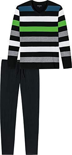 Schiesser Herren-Schlafanzug Single-Jersey schwarz/grün Größe 58
