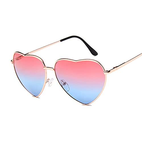 YUZHUKKKPYZ MJ - Gafas de sol para mujer con forma de corazón, gafas de sol para mujer, diseño de ojo de gato, retro, con amor, en forma de corazón, color rojo y azul