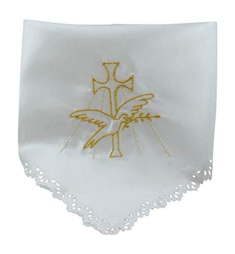 MaMeMi Pañuelo para velas, diseño de bautizo con bordado dorado satinado.