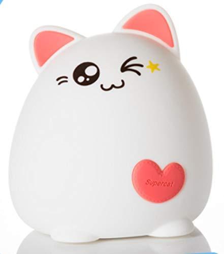 Lampe de bureau à induction rechargeable à télécommande de nuit en silicone Kitty-Pai Fan [Mignon et mignon]