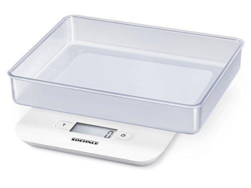Soehnle Compact Digitalwaage für max. 5 kg, digitale Küchenwaage mit großer Wiegefläche und Tara, praktische Haushaltswaage mit Wiegeschale, weiß