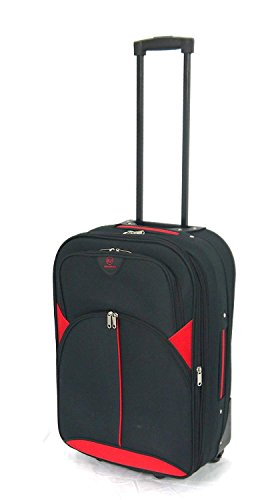 Lightweight Expandable Durable Hold Luggage Suitcase Trolley Case in 2 Wheels in Extra Large(32'), Large(29'), Medium(26'), Cabin Approved Sizes (18' Ryanair, Black/Red 2119)