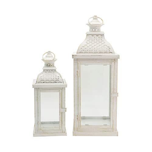 Rebecca Mobili Set 2 Lanterne Porta Candela Bianche, Metallo Vetro, Stile Vintage, Giardino Soggiorno - Misure: 50x19x19 (HxLxP) - Art. RE6555