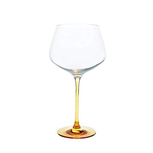 CRISTALICA Weinglas Weinkelch Charisma Rotwein Burgunder 775ml klar mit orangenem Stiel