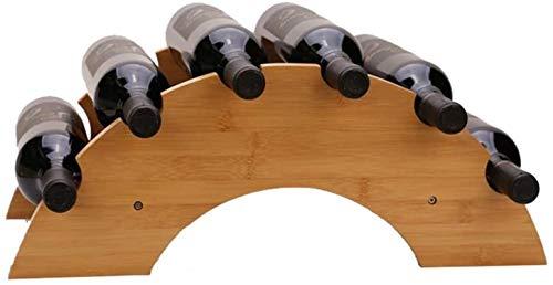 TUHFG Botellero para vino, vino, vino, vino, vino, 6 botellas, diseño compacto, soporte de almacenamiento (color: marrón, tamaño: 55 x 18 x 26 cm)