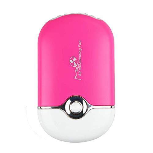 Nrew Mini portátil de Mano de Escritorio Aire Acondicionado USB Recargable Ventilador de refrigeración Rosa Rojo