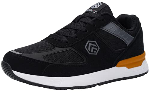 DURA-ANTISKID Zapatos de Seguridad Hombre Comodo SRC Zapatillas de Seguridad Punta de Acero Calzado de Seguridad Deportivo(Negro,43EU)